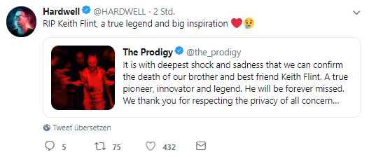 Hardwell Tweet zu The Prodigy