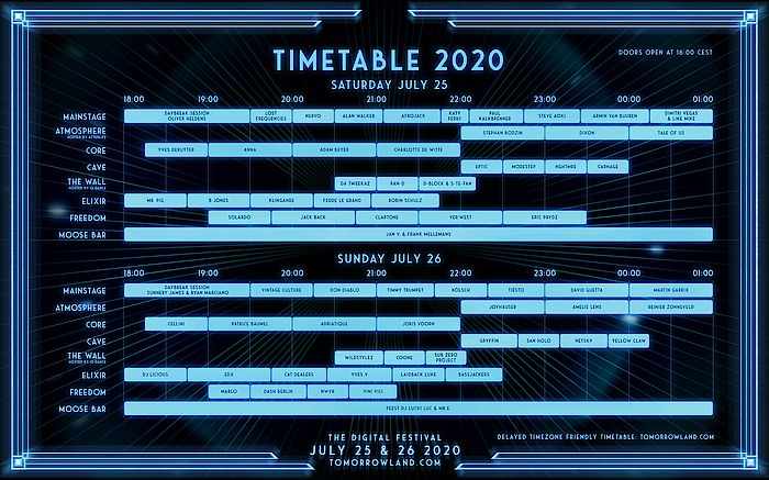 Tomorrowland Around the World Timetable